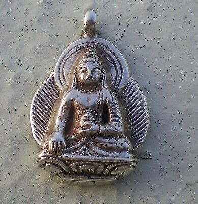 Elegant Tibetan Shakyamuni Buddha Pendant w/ 925 Sterling Silver Setting