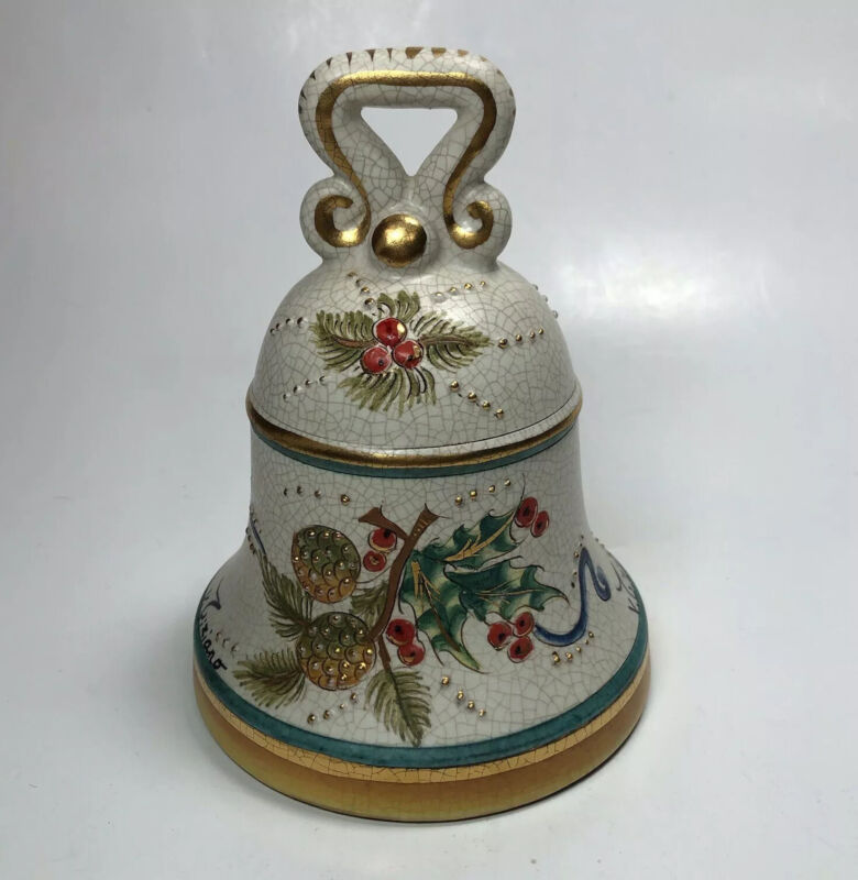 1973 Veneto Flair Christmas Bell Italy Signed Numbered Hand Etched And Painted