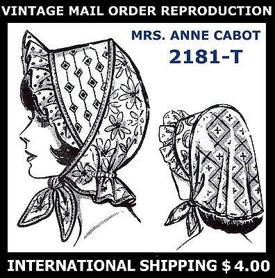 Vintage MO 2181 PATCHWORK SUNBONNET BONNET Hats Fabric Sewing Pattern Millinery