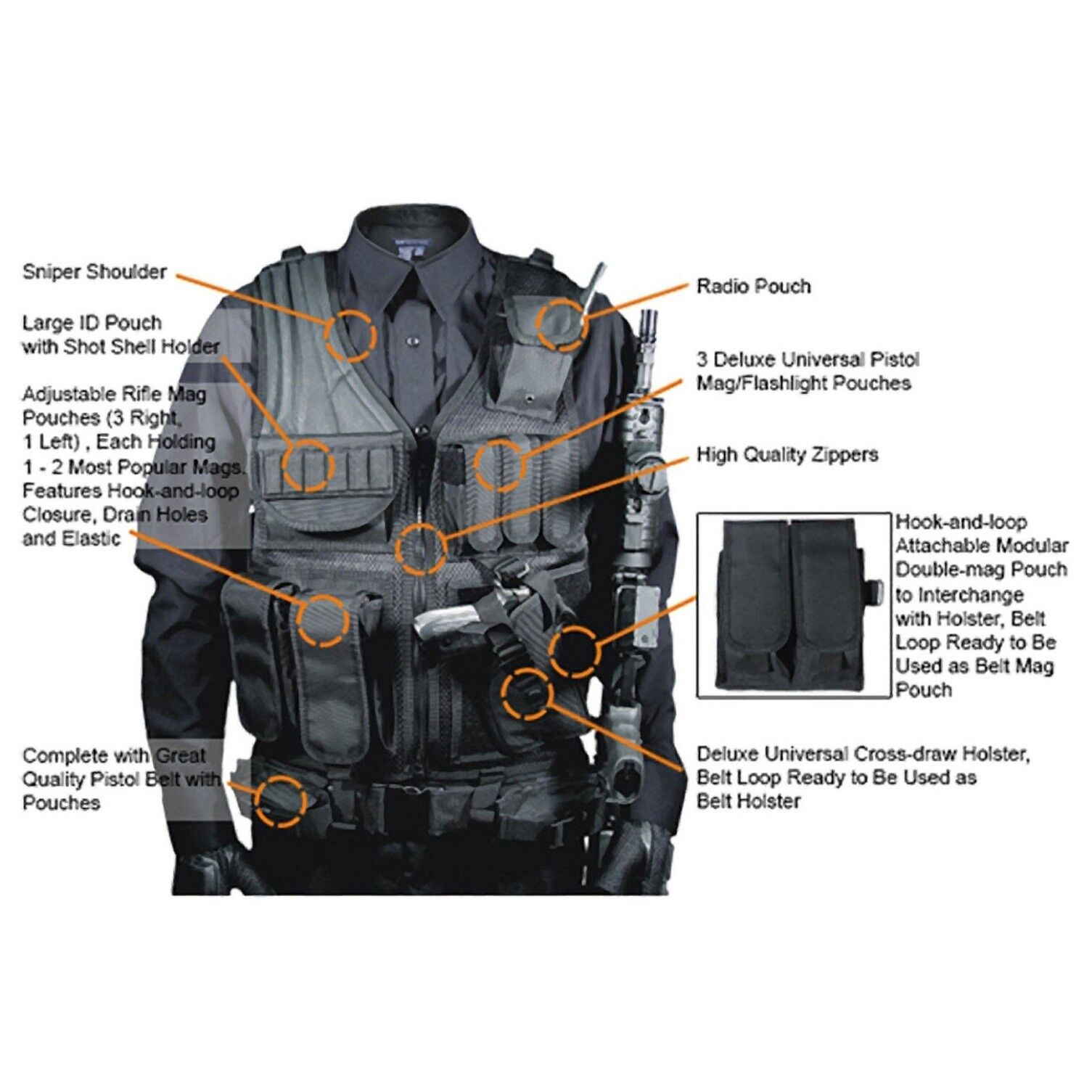 Military Vest Tactical Plate Carrier Holster Police Molle
