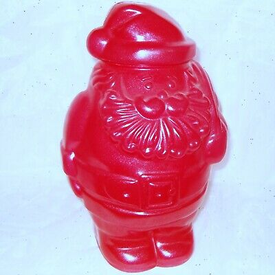 Vintage Packer Ware Santa Christmas Cookie Jar Container Red Sparkle Blow Mold