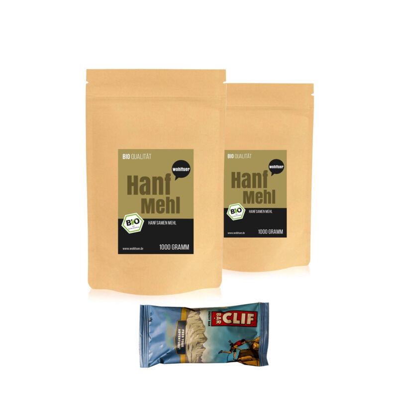 *8,75€/kg Wohltuer Bio Hanfmehl aus Hanfsamen ( 2x 1kg + Gratis Clif-Riegel)*