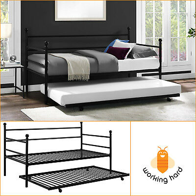 DAYBED WITH TRUNDLE Look-alike Size Metal Frame Bed Space Saving Modern Bedroom Black