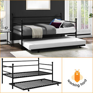 modern daybed. Beautiful Daybed DAYBED WITH TRUNDLE Twin Size Metal Frame Bed Space Saving Modern Bedroom  Black In Daybed M
