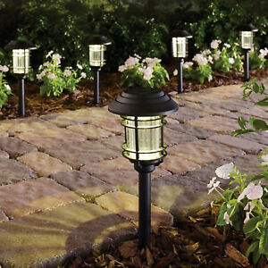 SOLAR LED PATHWAY LIGHTS Outdoor Path Light Garden Walkway Lamp Black 6 PACK