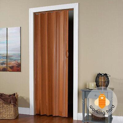 VINYL ACCORDION DOOR 36 In x 80 In Flexible Folding Slide Closet Room Fruitwood
