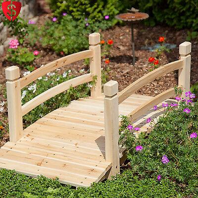 Wooden Garden Bridge Outdoor Walkway Pond Yard Decorative Landscape Wood 4 ft