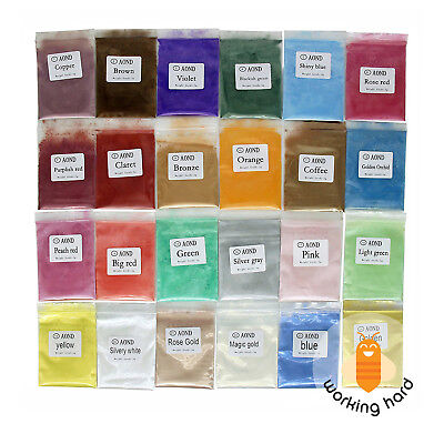 24 COLORS MICA POWDER PIGMENTS For Bath Bomb Make Up Candle Soap Making Colorant