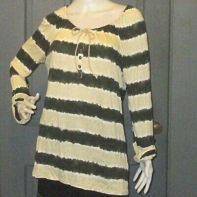 ELLA MOSS designer top olive green striped L gathered neck EUC ()