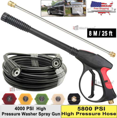 25 ft. 4000 PSI High Pressure Washer Hose Gun Wand Lance Spray Tips Turbo Nozzle