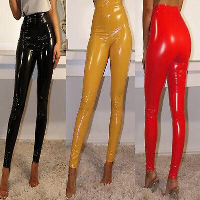(Women Ladies Vinyl PVC Wet Look Shiny Disco Elasticated High Waist Leggings Pant)