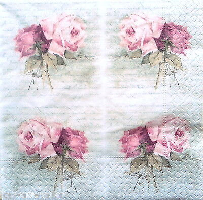 4 Single Vintage Table Paper Napkins for Decoupage Lunch Decopatch Sagen Roses 3