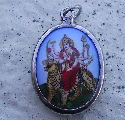 Hindu Deity Pendant Metal and Enamel DURGA w/ Blue Background