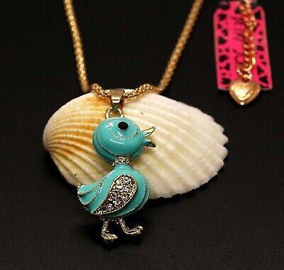 Betsey Johnson Blue Enamel Duck Charm Pendant Chain Necklace Free Gift Bag Blue Enamel Purse Pendant