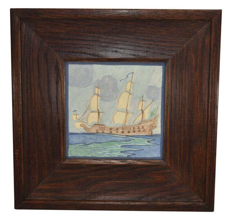 Marblehead Pottery Colorful Sailing Ship Framed Tile (Tutt)