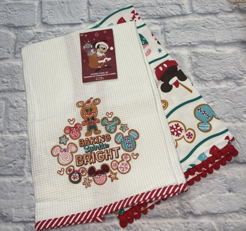 Disney Parks Christmas Holiday Gingerbread BAKING SPIRITS BRIGHT Kitchen Towels