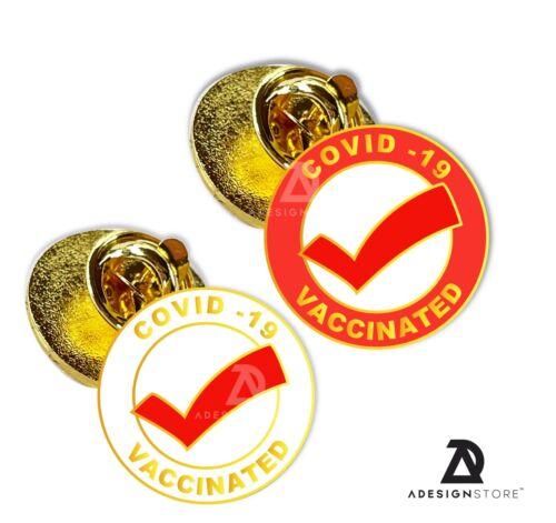 2 x enamel pin vaccinated got my vaccine brooch badge id 2021 tag bag lapel 2021