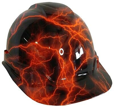 Hydro Dipped Hard Hat Ridgeline Cap Style Custom Hivis Orange Lightning