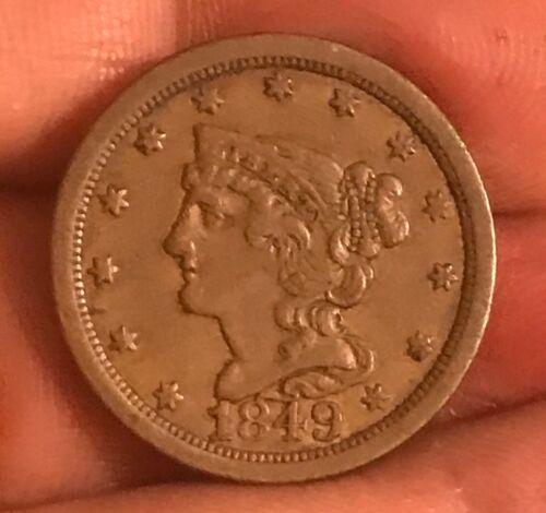 1849 braided hair half cent , XF +