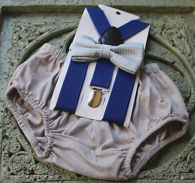 1st Birthday boy cake smash bow tie suspenders outfit light gray royal blue](1st Birthday Boy Outfits)