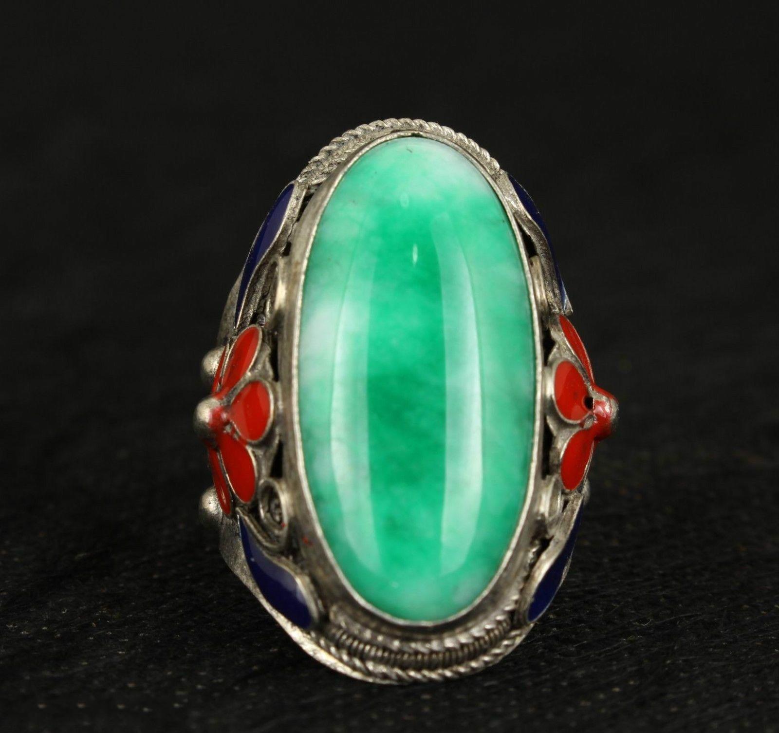 Superb Old Handwork Natural Green Jade Tibet Silver Enamel Flower Adjust Ring NA