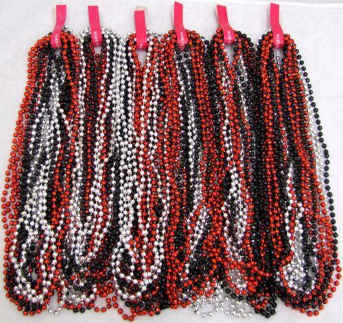 """Mardi Gras Beads Black Red Silver Disco 6 dozen 33"""" Party Parade 72 NECKLACES"""
