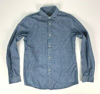 A.P.C. Chambray Denim Long Sleeve Shirt sz S Blue