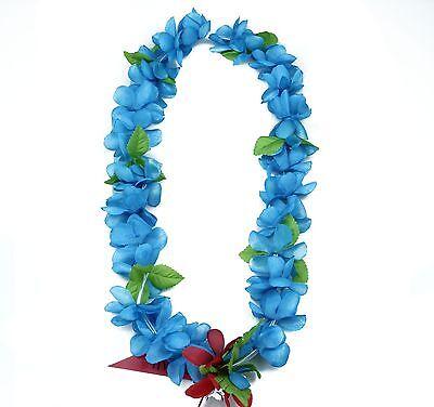 Hawaiian Lei Party Luau Floral Princess Plumeria Silk Dance Flower Blue (Princess Lei)