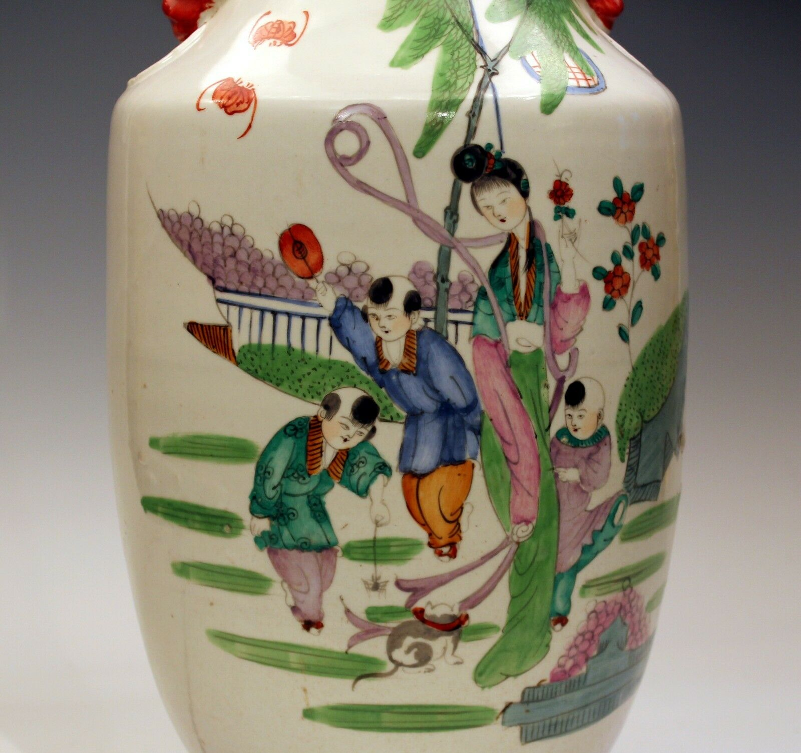 Antique Chinese Porcelain Vase Lamp Large Old Qing Children Cat Figures