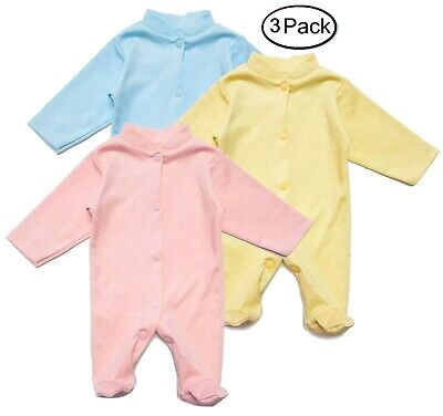 Footed Bodysuit 3 Pack Newborn Baby Cotton Outfit Pajamas Sleeper Girl Boy New