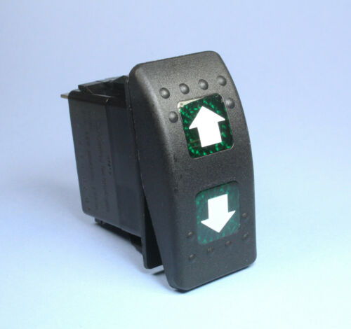 MOMENTARY Illuminated Rocker Switch ON/OFF/ON UP DOWN Arrows DPDT 12v 20A Green