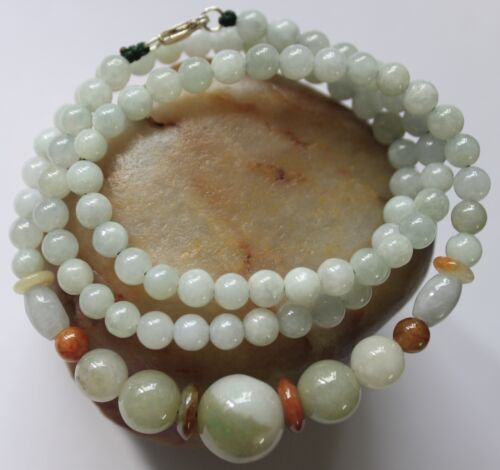 "100% Natural Jade (Grade A) Beautiful Untreated Jadeite Beaded Necklace 21"" #250"