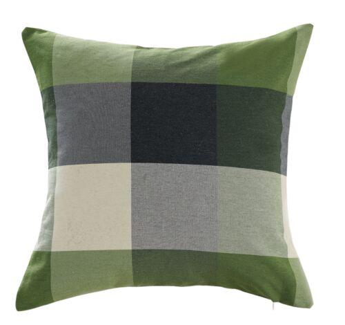 Chezmoi Collection Plaid Decorative Sage Green Gray Pillow/C