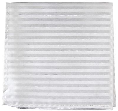 New Men's Polyester Woven pocket square hankie only white tone on tone stripes