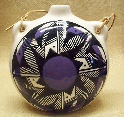 Ute Mountain Native American Pottery Lg White/Purple Canteen Traditional Design