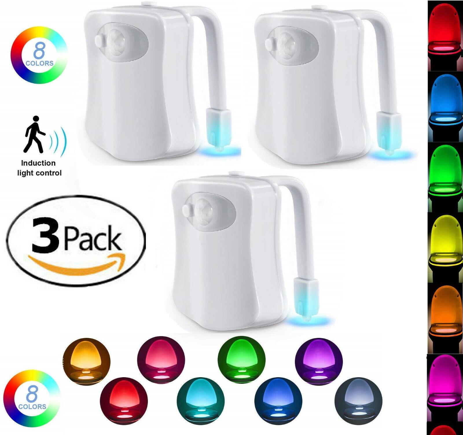 3 Pack Toilet Night Light 8 Color LED Motion Activated Sensor Bathroom Bowl Seat Home & Garden