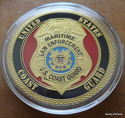 USA  coast guard   24K GOLD  PLATED 40 mm  Challenge  COIN