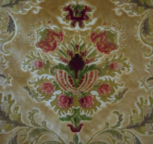 Sublime Vintage French Cartouche Floral Cut Velvet Jacquard Fabric ~ Jewel Tones
