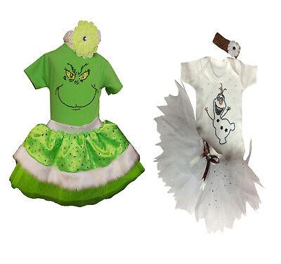The Grinch Olaf Frozen Snowman Sparkle Girls Tutu Set Baby Fancy Dress BOOK - Olaf Tutu Kostüm