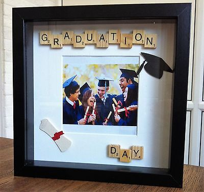 'Graduation Day' handmade scrabble tile art photo frames