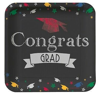 Graduation Dinner Plates White Black 8ct Decoration Favor Party Supplies](Graduation Plates)