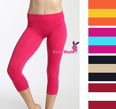 Seamless Capri Leggings - Ladies Seamless Basic Stretch Capri Sports Yoga Leggings Skinny Slim Pant