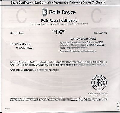 Rolls Royce Holdings Group Stock Certificate Dated 2011 2016