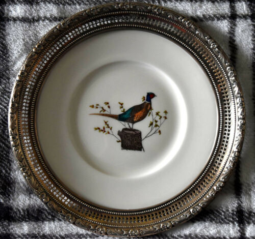 Vintage Wallace Pheasant Hand Colored Sterling Silver Plate