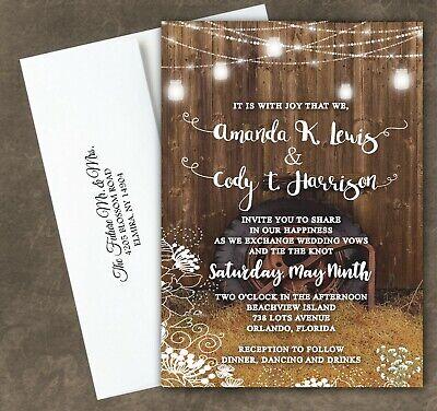 Rustic Barn Wedding (Rustic Barn Wedding Invitations with RSVP Post Cards Mason Jar Country Farm)