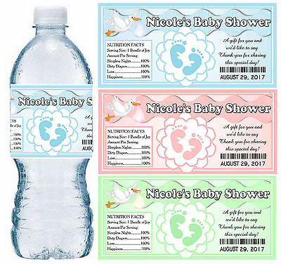 30 PERSONALIZED BABY SHOWER FAVORS WATER BOTTLE LABELS PARTY FAVORS Glossy