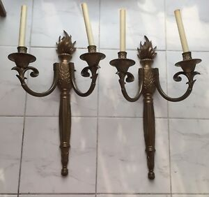 Two large electrical brass wall sconces