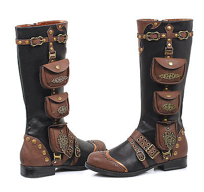 Black BoHo Burning Man Steampunk Gypsy Desert Womans Ren Fair Knee High Boots](Steampunk Knee High Boots)