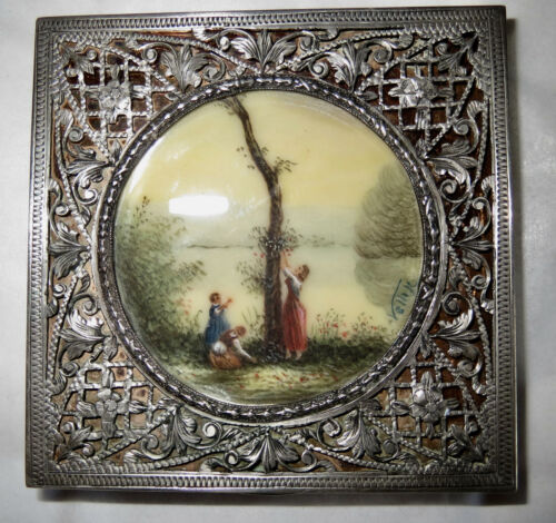 Antique 1920s Sterling Compact Hand Painted Scene