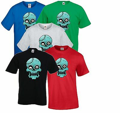 Crazy Blue Zombie Crystal Skull, Halloween Party T Shirt Costume Childrens Kids ()